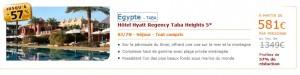 Vente Flash ! 8 jours/7 nuits tout compris dans Hôtel Hyatt 5 Etoiles en Egypte pour 581 euros au lieu de 1349 euros (-57%)
