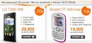 Vente flash téléphone sans engagement (mobicarte) LG T385 Wi-fi à 29,99 euros et Alcatel OT 358 Rose à 19,99 euros jusqu'à vendredi