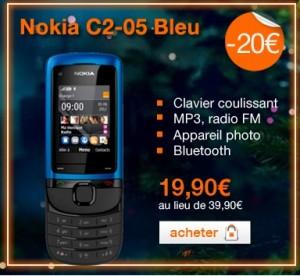 Vente Flash ! Téléphone sans engagement Nokia C2-05 Bleu pour seulement 19,90 euros au lieu de 39,90 euros