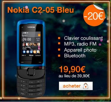 Vente flash t l phone sans engagement nokia c2 05 bleu pour moins 20 euros - Vente flash telephone ...
