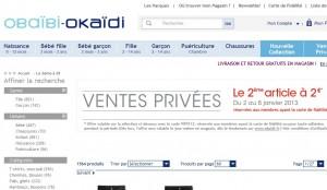 Vente Privée Okaïdi et Obaïbi ! Le deuxième article à 2 euros