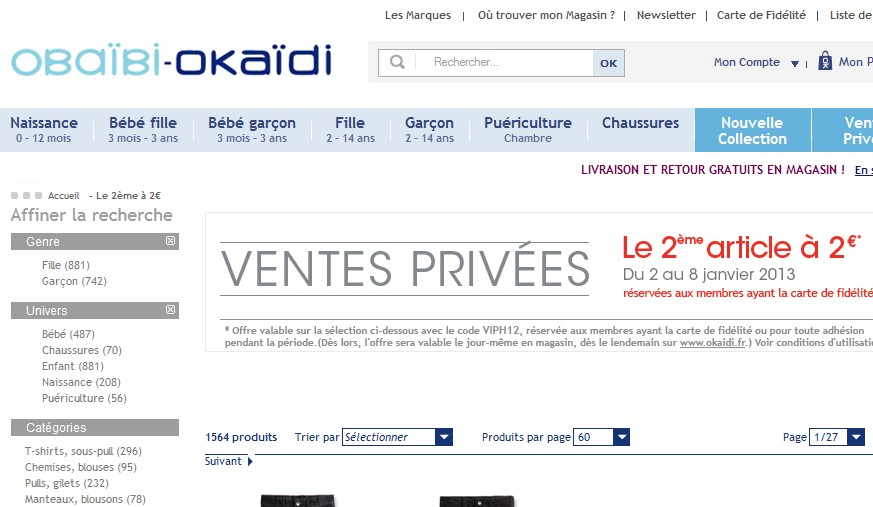 Vente priv e oka di et oba bi le deuxi me article 2 euros - Vente privee retour article ...