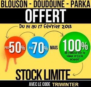 2 blousons, parkas ou doudounes achetés = la troisième gratuite (Code promo Delaveine)