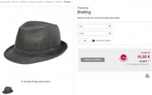 10,50 euros le Chapeau Panama Briefing (-70%)