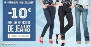 10 euros de reductions sur Jeans et Jupes en jeans Cache Cache