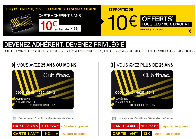 10 euros la carte adhèrent FNAC 3 ans au lieu de 30 euros