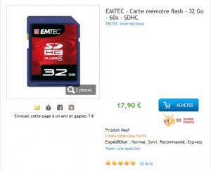 17,90 euros la Carte SDHC 32 Go EMTEC (60x)