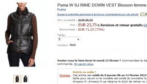 24 euros (port inclus) au lieu de 95 le Blouson femme Puma