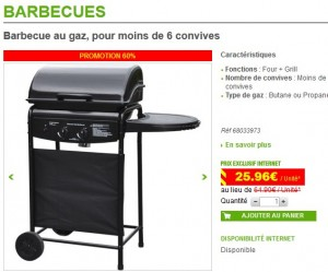 soldes barbecue a gaz a 25 96 euros leroy merlin. Black Bedroom Furniture Sets. Home Design Ideas