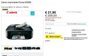 28,90 euros Imprimante Canon Pixma MX895 livrée (vendu normalement pas moins de 160 euros) Super bon plan