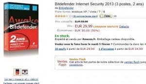 29,99 euros ! Bitdefender Total Security 2013 (licence 2 ans, 3 postes) au lieu de 59,99 euros