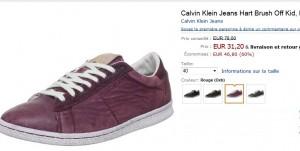 31,20 euros les Baskets Calvin Klein au lieu de 78 euros 2