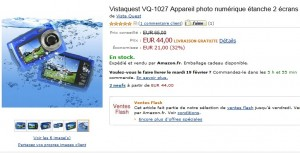 44 euros Appareil photo étanche, double écran, 10 Mpx Vistaquest (port inclus) VENTE FLASH