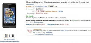 79 euros le téléphone Androïd Motorola Motosmart débloqué - vendu normalement entre 128 et 150 euros