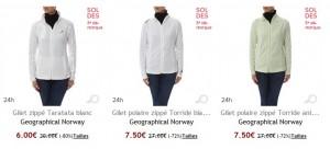 9,95 euros le gilet polaire femme Geographical Norway (port inclus)