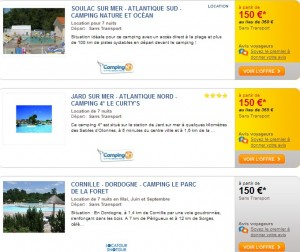 Camping 7 nuits 150 euros Carrefour