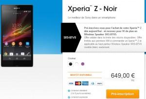 Sony XPERIA Z precommande gratuit enceinte Sony