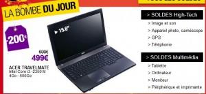 Bon plan ! 499 euros  le PC portable ACER TravelMate ! Vendu 700 euros ailleurs !