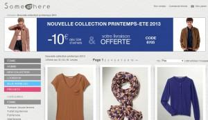 Bon plan Somewhere : 10 euros offerts pour 50 euros achats + livraison gratuite (code promo)