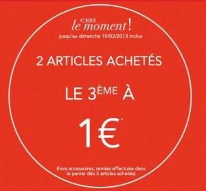 Camaïeu 2 articles en soldes achetés = le troisième à 1 euro