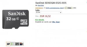 Micro SD 32 Go SanDisk à 16,52 euros