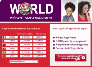 Carte Sim Virgin Mobile gratuite + Offre appels internationaux