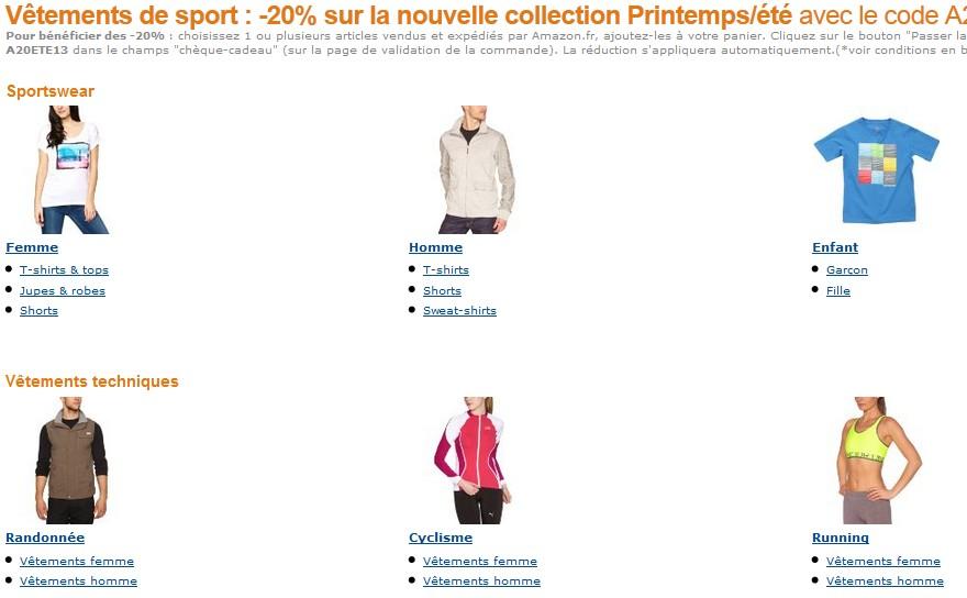 -20% sur vêtement de sport chez Amazon