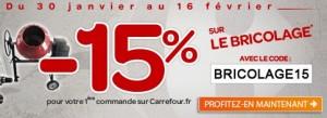 Code promo moins 15% sur le Bricolage sur Carrefour.fr
