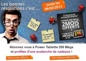 Derniers jours ! Offre Numéricâble 2 mois offerts Internet 200 Méga, 240 chaînes TV, Téléphone illimité, SMS illimités, multi-écrans + Forfait Mobile 1h + tablette ARCHOS COBALT pour 1 euro