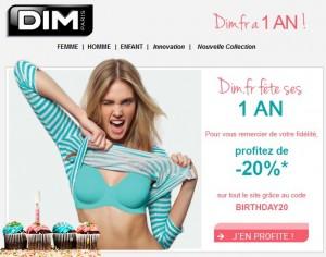 Moins 20% sur tout le site DIM aujourd'hui seulement