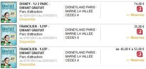 DisneyLand 1 billet enfant gratuit pour1 billet adulte acheté