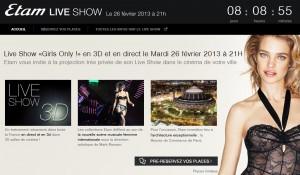 Gratuit : Etam Live Show «Girls Only !» en 3D au cinéma le 26 février (places limitées)
