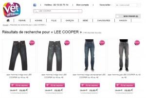 Jeans Lee Cooper à 19,99 euros chez Vet'Affaires