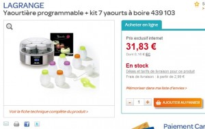 MINI PRIX! Yaourtière programmable Lagrange + kit 7 yaourts à boire pour moins de 35 euros