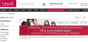 Moins 15% supplémentaires sur les soldes Galeries Lafayette - Dernier jour des Soldes