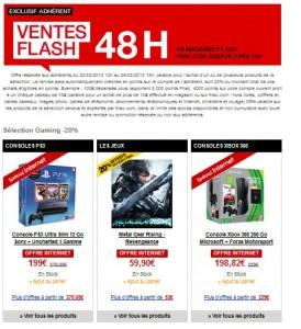 Moins 20% sur les consoles et jeux vidéo Vente Flash Adhèrent FNAC