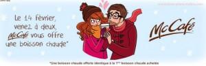 1 boisson chaude gratuite McCafe St Valentin