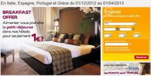 Petit déjeuner à 1 euro dans les hôtels ibis, Mercure, Novotel  en Italie, Espagne, Portugal et Grèce