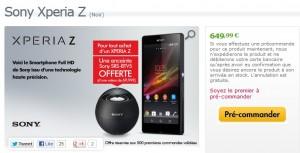 Sony XPERIA Z en précommande + gratuit enceinte Bluetooth Sony SRS-BTV5