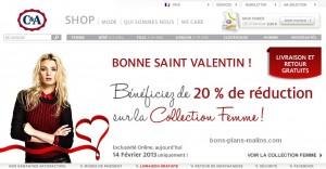 St Valentin ! -20% sur la collection femme chez C&A - Aujourd'hui seulement