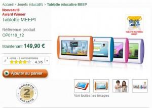 Tablette enfant MEEP Oregon Scientific 129 euros (+5 jeux gratuits) au lieu de 149 euros