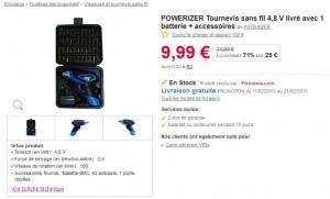 Tournevis sans fil 4,8 V + accessoires à moins 10 euros (port inclus)