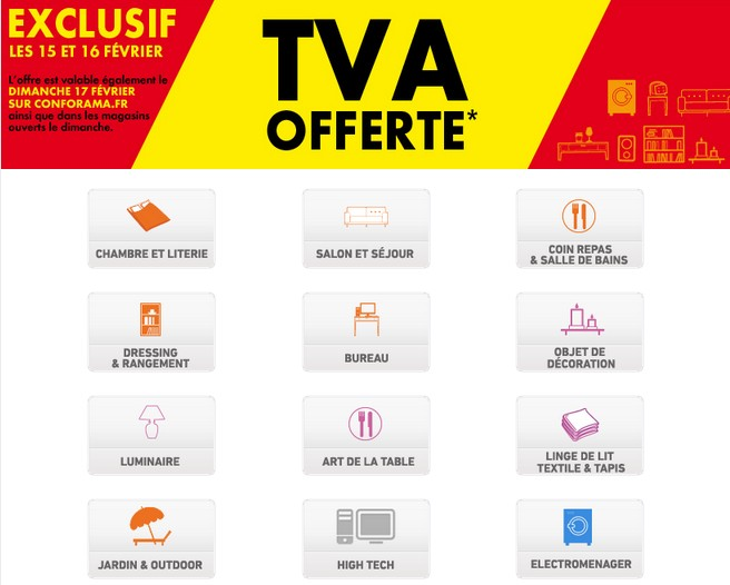 offre tva offerte chez conforama. Black Bedroom Furniture Sets. Home Design Ideas