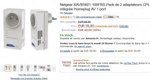 Vente flash 59,90 euros les 2 adaptateurs CPL 500 Mbit/s Netgear