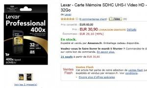 Vente Flash Carte Mémoire SDHC 32go, classe 10, pro x400, UHS-I Lexar a seulement 30,90 euros au lieu d'une cinquantaine d'euros
