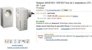 VENTE FLASH ! Lot de 2 Adaptateurs CPL Ethernet Powerline 200 Mbit/s Nano Netgear à seulement 36,90 euros (port inclus) au lieu 49,90 euros