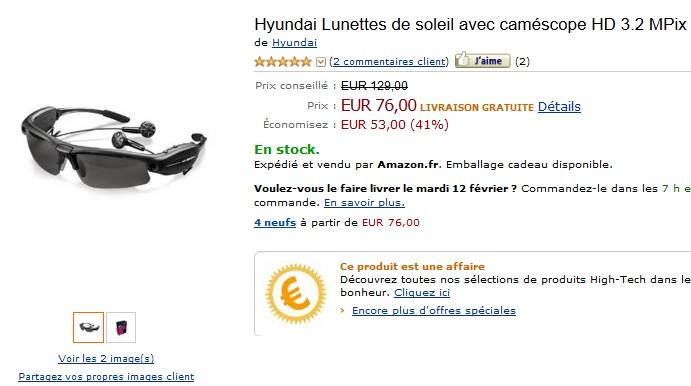 Vente flash lunette de soleil caméscope HD et lecteur MP3 intégrés à 76 euros (port inclus) au lieu de 129 euros