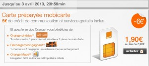 vente flash mobicarte 1 euro