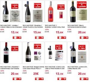Vins en promo Auchan.fr (1 acheté=1 gratuite, 2 achetés=1 gratuite….)
