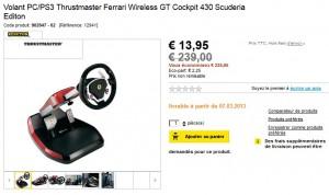 Volant PC/PS3 Thrustmaster Ferrari 20 euros au lieu de 200 euros - Super bon plan